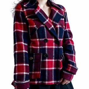 American Eagle Red & Navy Plaid Wool Pea Coat | St
